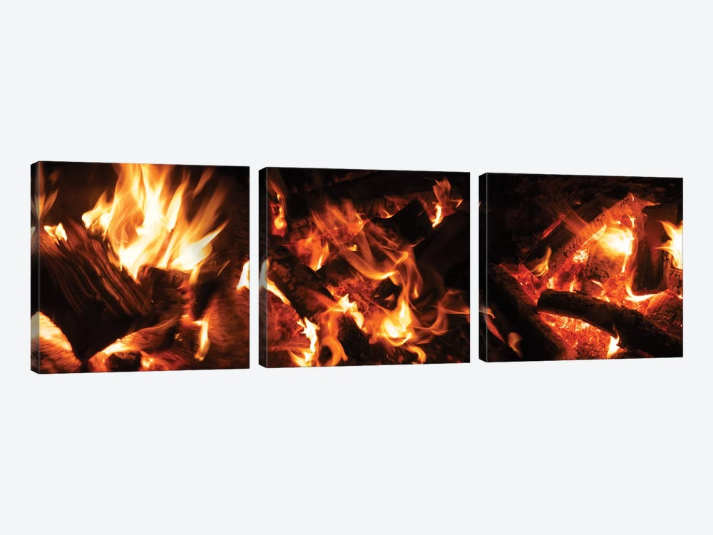 Close-Up Of Bonfire At Night II by Panoramic Images 3-piece Canvas Art
