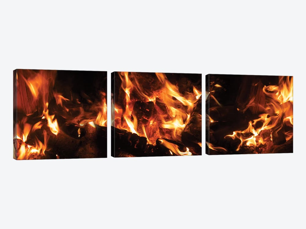 Close-Up Of Bonfire At Night III by Panoramic Images 3-piece Art Print