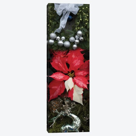 Close-Up Of Christmas Ornaments And Poinsettia Flowers Canvas Print #PIM14393} by Panoramic Images Canvas Art Print