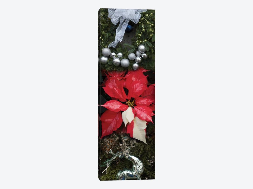 Close-Up Of Christmas Ornaments And Poinsettia Flowers by Panoramic Images 1-piece Canvas Art