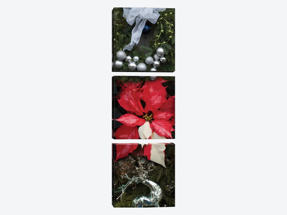 Close-Up Of Christmas Ornaments And Poinsettia Flowers by Panoramic Images 3-piece Canvas Art
