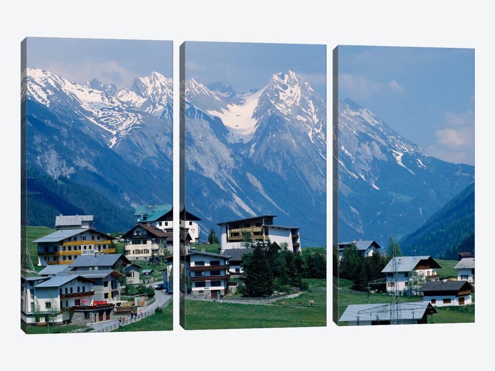 High angle view of a village on a landscape and a mountain range in the background, St. Anton, Austria 3-piece Canvas Wall Art