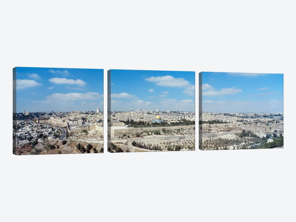 Ariel View Of The Western Wall, Jerusalem, Israel by Panoramic Images 3-piece Canvas Art