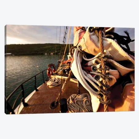 Close-Up Of Sail And Rope On Boat, Culebra Island, Puerto Rico Canvas Print #PIM14533} by Panoramic Images Canvas Print