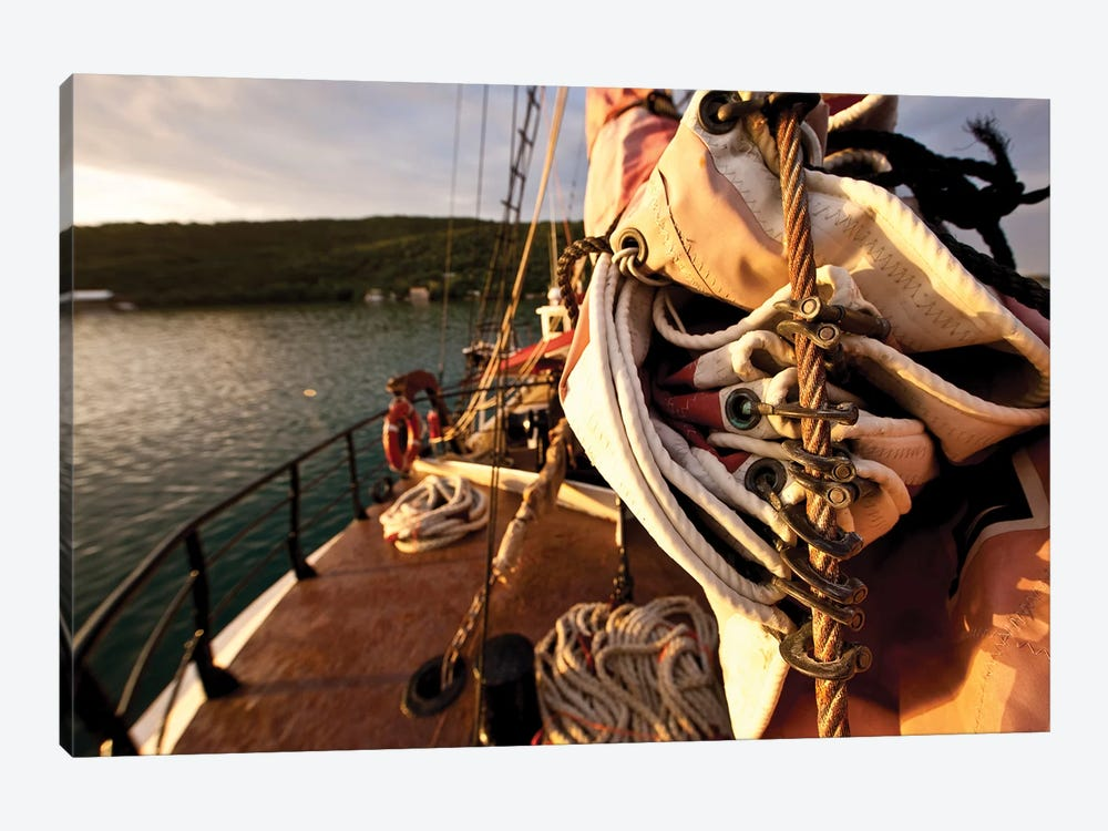 Close-Up Of Sail And Rope On Boat, Culebra Island, Puerto Rico by Panoramic Images 1-piece Canvas Wall Art