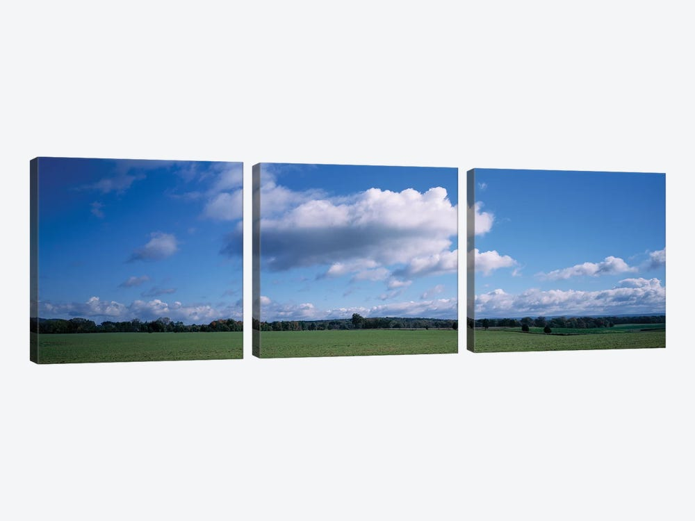 Clouds Over A Field, Upstate New York, USA by Panoramic Images 3-piece Canvas Art