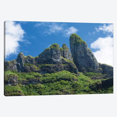 Clouds Over Mountain Peaks, Bora Bora, Society Islands, French Polynesia Canvas Print #PIM14572} by Panoramic Images Canvas Art Print