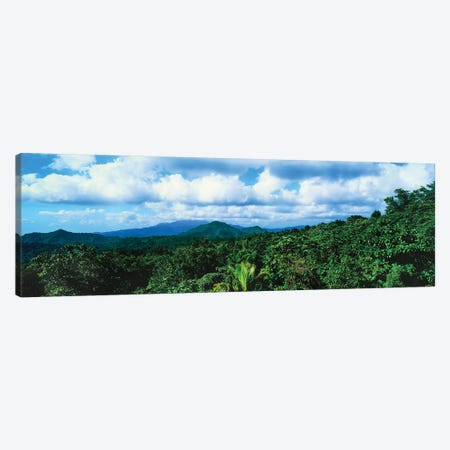 Clouds Over Mountain Range, Dominica, Caribbean Canvas Print #PIM14573} by Panoramic Images Canvas Print