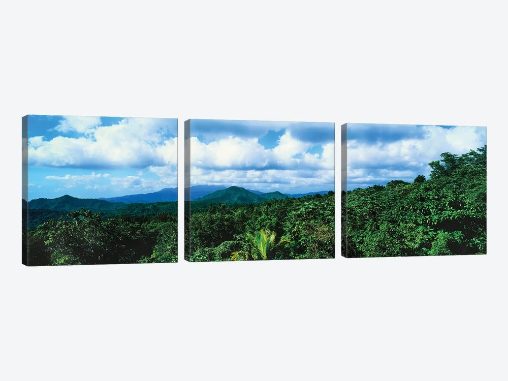Clouds Over Mountain Range, Dominica, Caribbean by Panoramic Images 3-piece Canvas Artwork