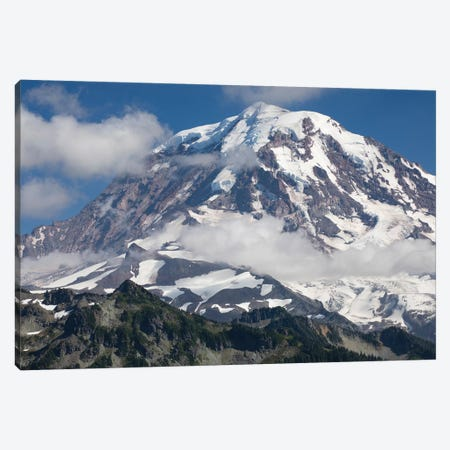 Clouds Over Snow Covered Mountain, Mount Rainier National Park, Washington State, USA Canvas Print #PIM14577} by Panoramic Images Canvas Artwork