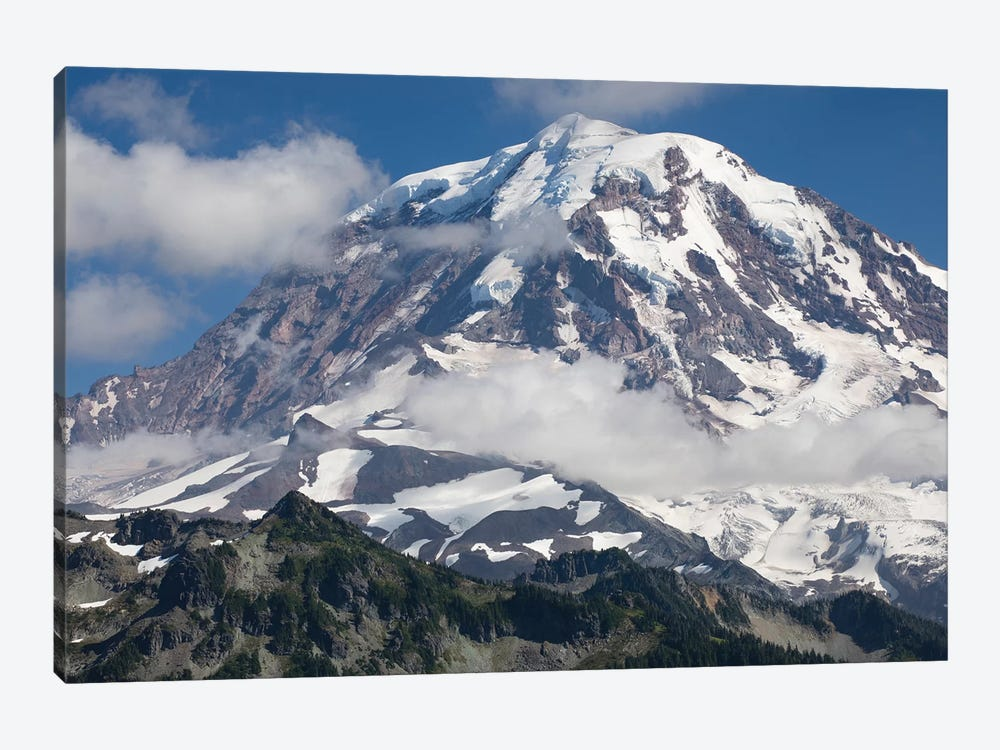 Clouds Over Snow Covered Mountain, Mount Rainier National Park, Washington State, USA by Panoramic Images 1-piece Canvas Art