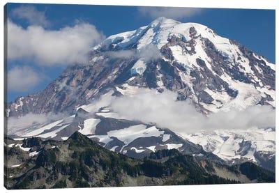 Clouds Over Snow Covered Mountain, Mount Rainier National Park, Washington State, USA Canvas Art Print