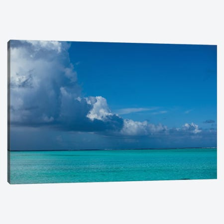 Clouds Over The Pacific Ocean, Bora Bora, Society Islands, French Polynesia I 3-Piece Canvas #PIM14578} by Panoramic Images Canvas Print