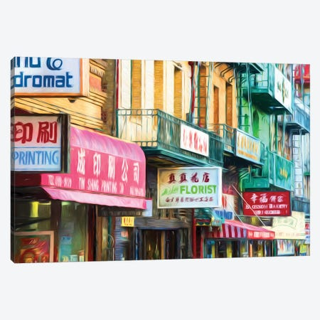 Clutter Of Business Signs, Chinatown, San Francisco, California, USA Canvas Print #PIM14586} by Panoramic Images Canvas Art Print