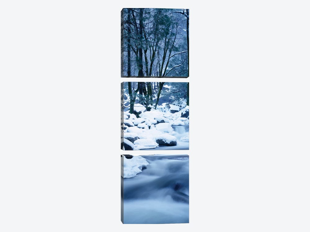 Creek Flowing Through Forest In Winter, Yosemite National Park, California, USA by Panoramic Images 3-piece Canvas Art