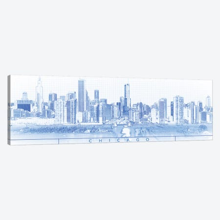 Digital Sketch Of Chicago Skyline, USA I Canvas Print #PIM14606} by Panoramic Images Canvas Art