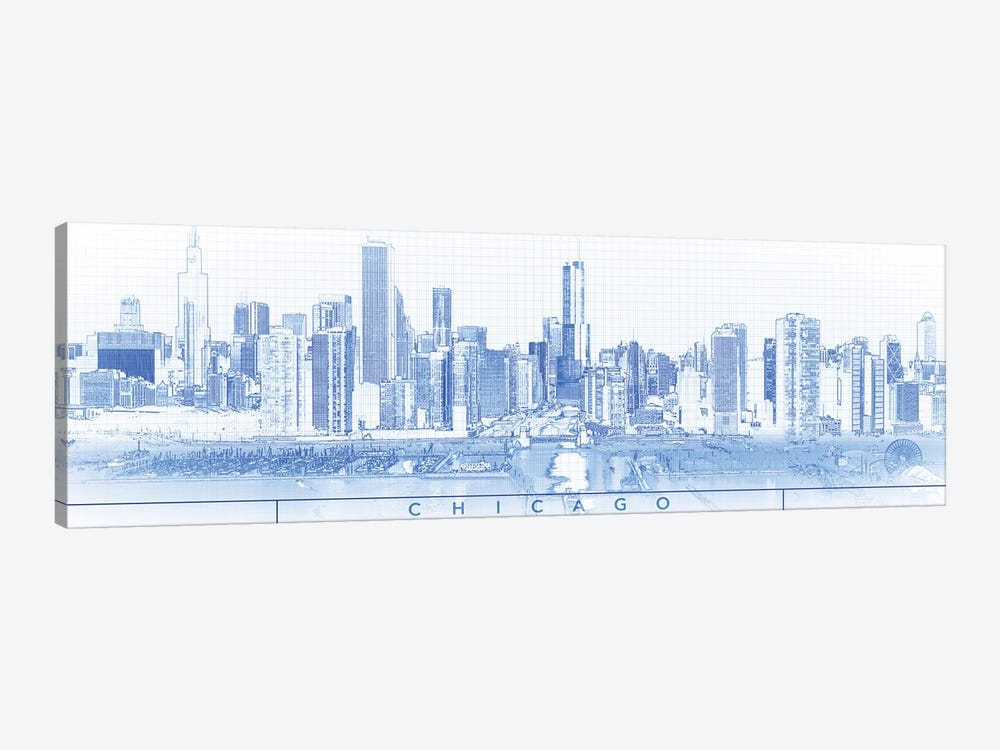 Digital Sketch Of Chicago Skyline, USA I by Panoramic Images 1-piece Canvas Artwork