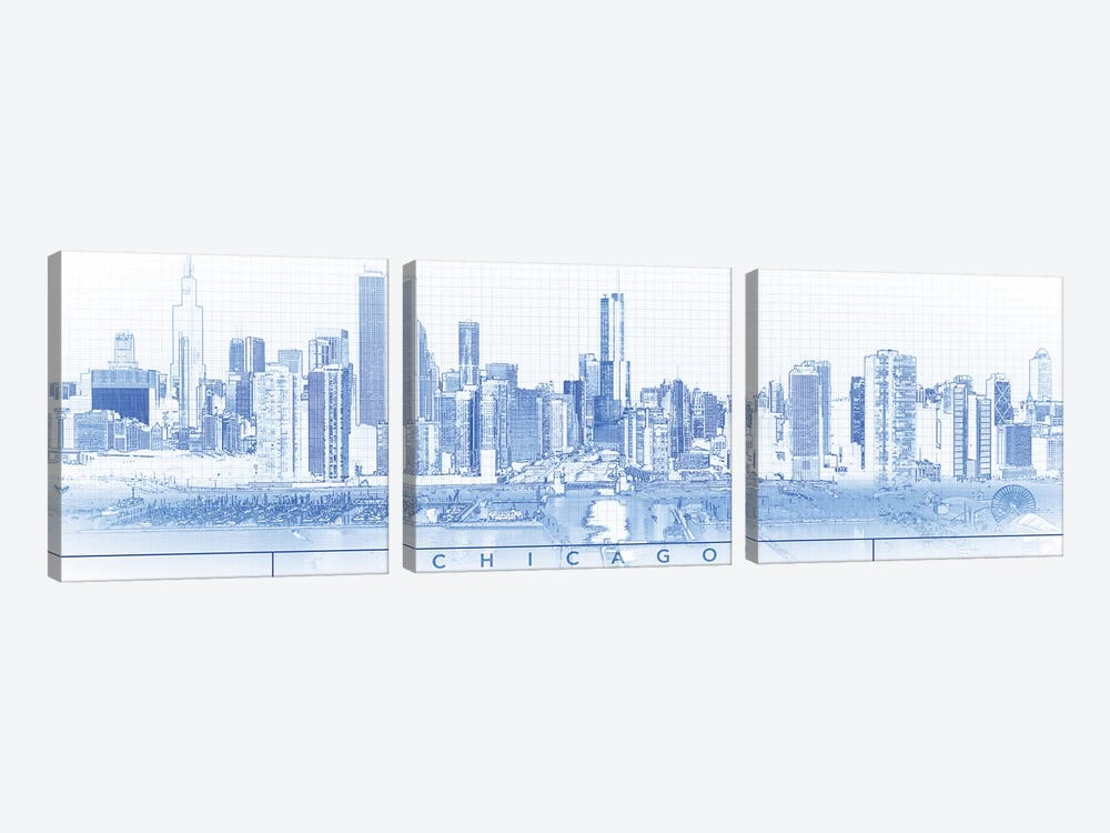 Digital Sketch Of Chicago Skyline, USA I by Panoramic Images 3-piece Canvas Art