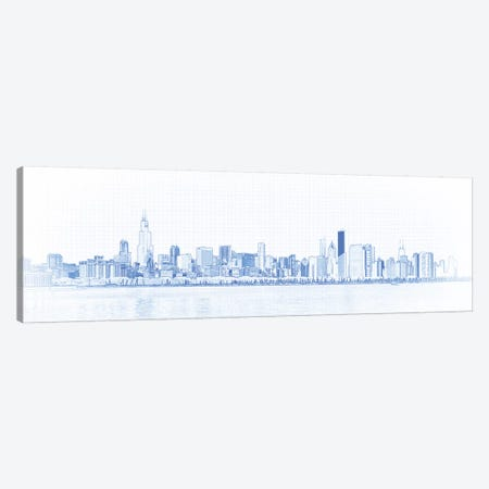 Digital Sketch Of Chicago Skyline, USA II Canvas Print #PIM14607} by Panoramic Images Canvas Artwork