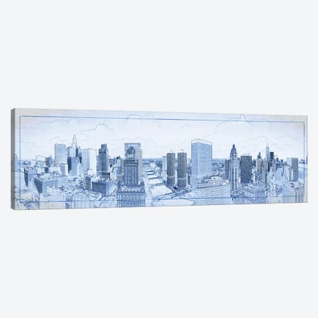 Digital Sketch Of Chicago Skyline, USA III Canvas Print #PIM14608} by Panoramic Images Canvas Print