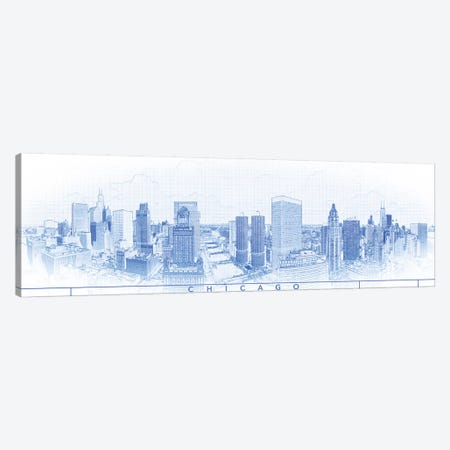 Digital Sketch Of Chicago Skyline, USA IV Canvas Print #PIM14609} by Panoramic Images Canvas Print