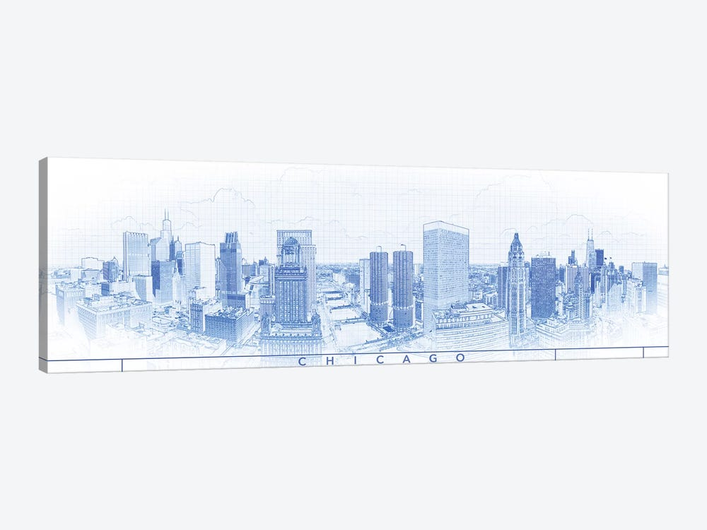 Digital Sketch Of Chicago Skyline, USA IV by Panoramic Images 1-piece Canvas Print