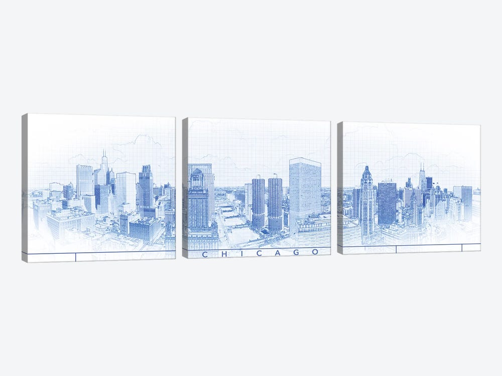Digital Sketch Of Chicago Skyline, USA IV by Panoramic Images 3-piece Art Print