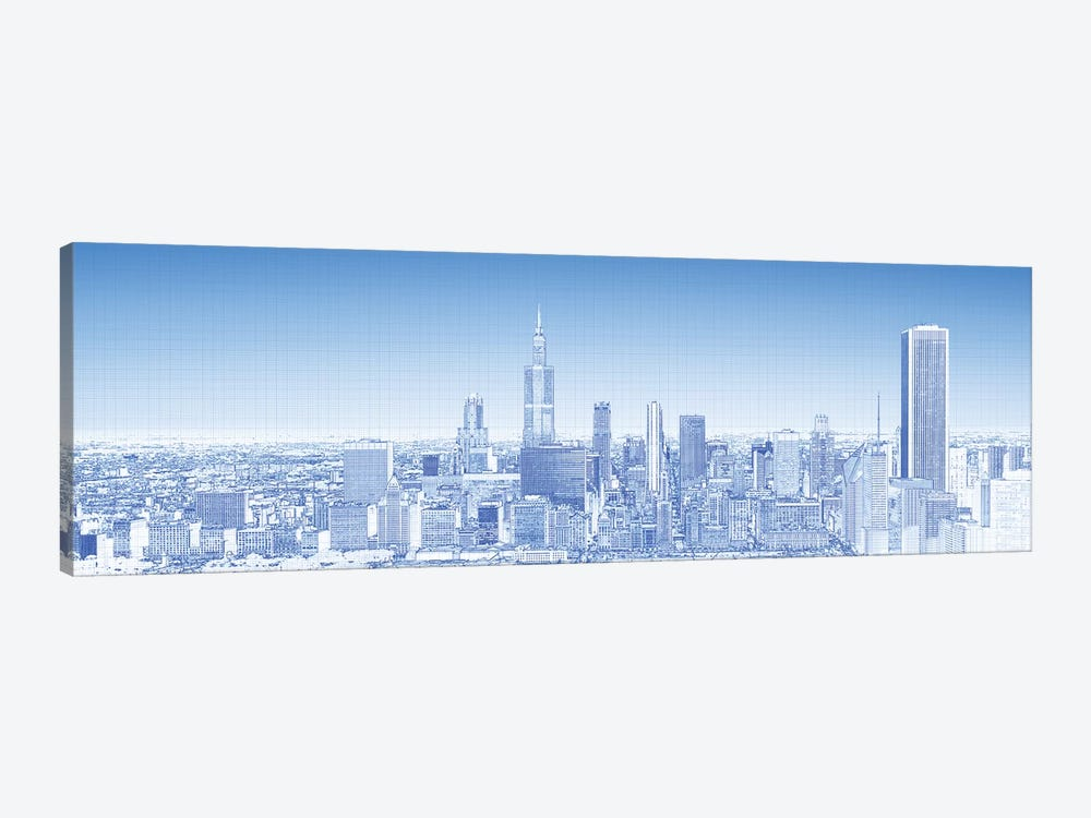 Digital Sketch Of Chicago Skyline, USA VII by Panoramic Images 1-piece Canvas Art Print