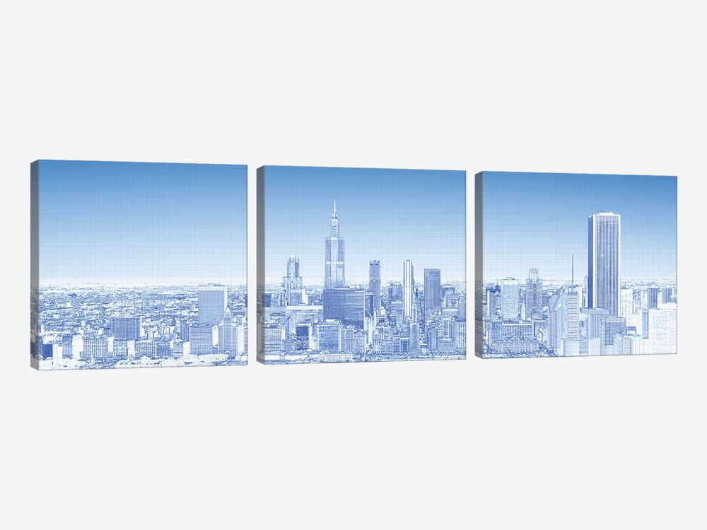 Digital Sketch Of Chicago Skyline, USA VII by Panoramic Images 3-piece Art Print
