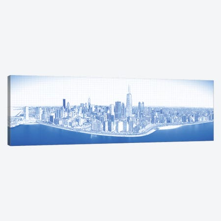 Digital Sketch Of Chicago Skyline, USA VIII Canvas Print #PIM14613} by Panoramic Images Canvas Art