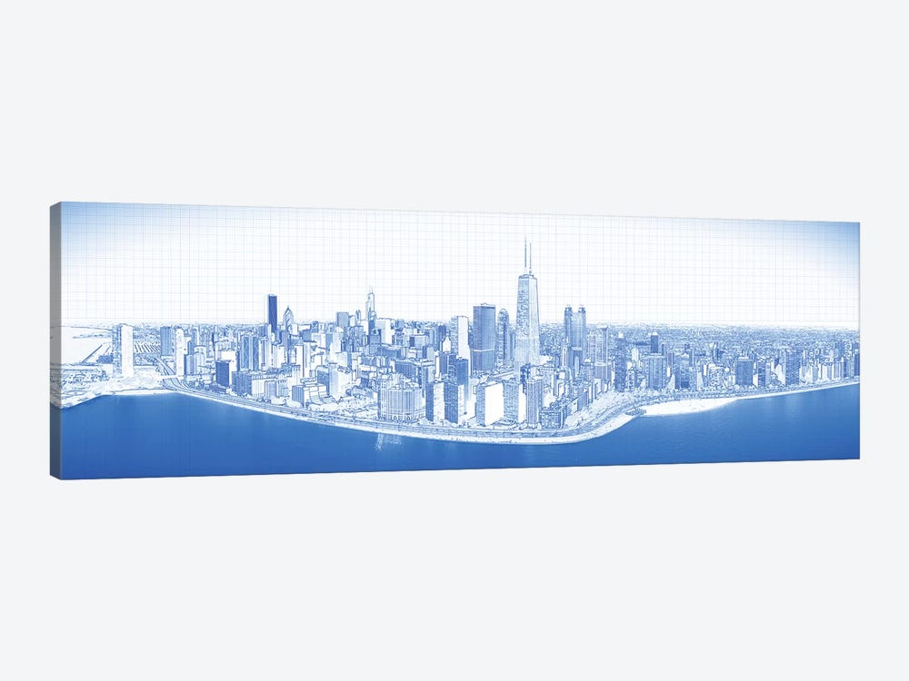 Digital Sketch Of Chicago Skyline, USA VIII by Panoramic Images 1-piece Canvas Wall Art