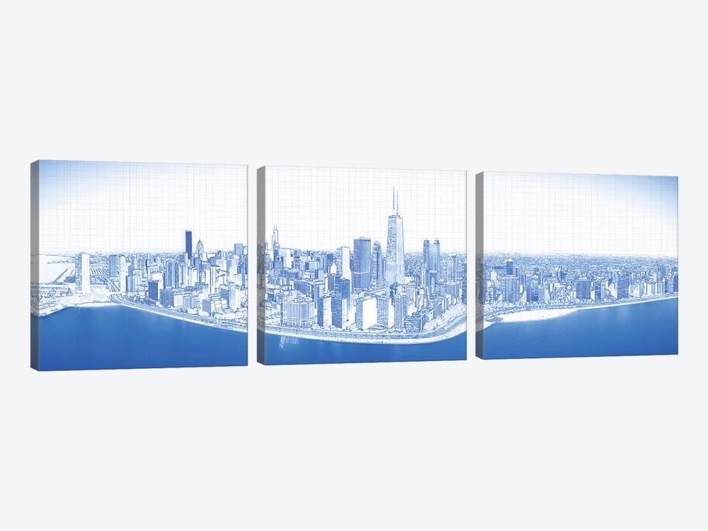 Digital Sketch Of Chicago Skyline, USA VIII by Panoramic Images 3-piece Canvas Artwork
