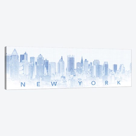 Digital Sketch Of Manhattan Skyline, NYC, USA I Canvas Print #PIM14614} by Panoramic Images Canvas Art Print
