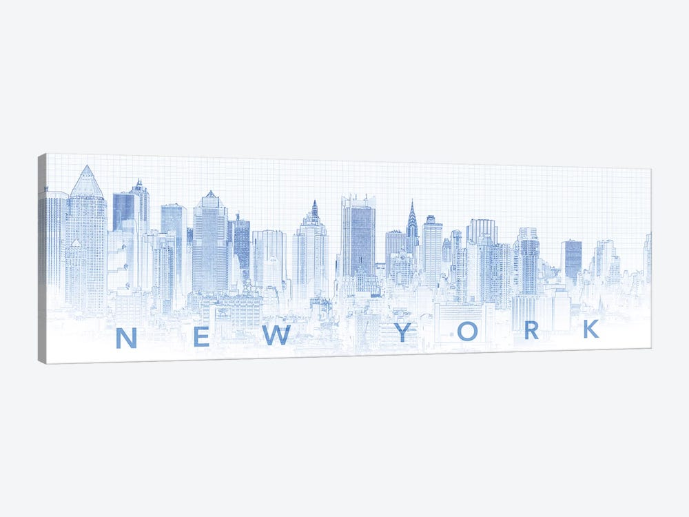 Digital Sketch Of Manhattan Skyline, NYC, USA I by Panoramic Images 1-piece Art Print
