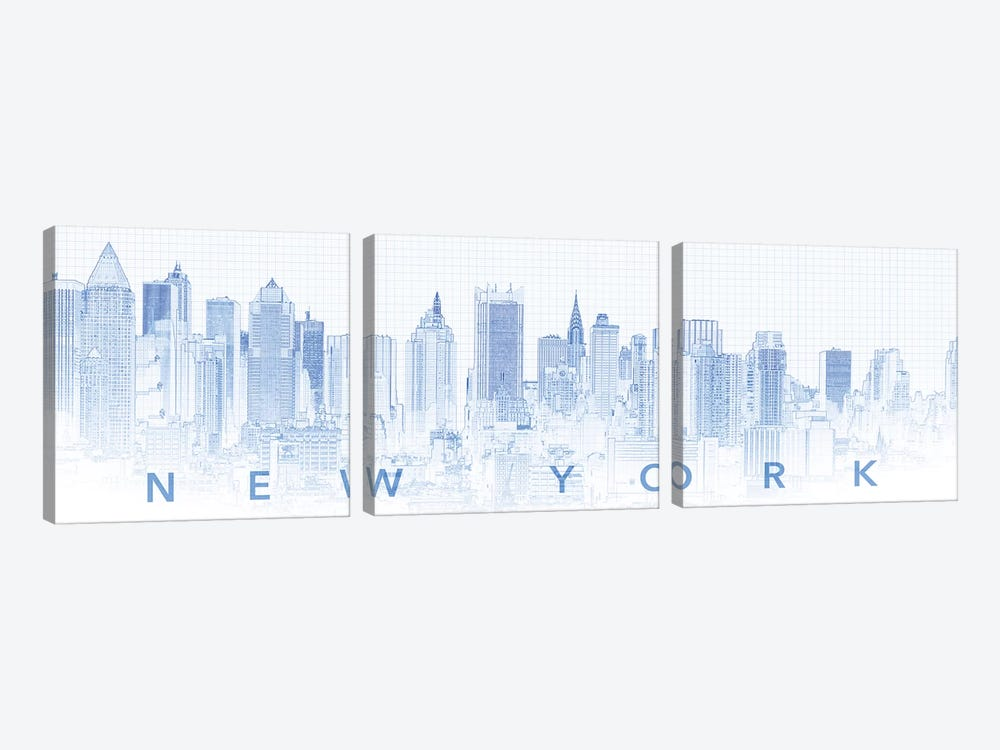 Digital Sketch Of Manhattan Skyline, NYC, USA I by Panoramic Images 3-piece Canvas Print