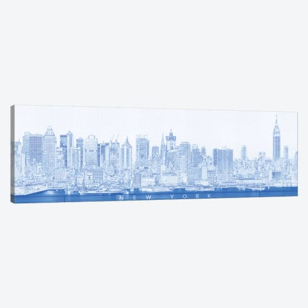 Digital Sketch Of Manhattan Skyline, NYC, USA II Canvas Print #PIM14615} by Panoramic Images Art Print