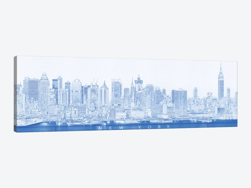 Digital Sketch Of Manhattan Skyline, NYC, USA II by Panoramic Images 1-piece Canvas Wall Art