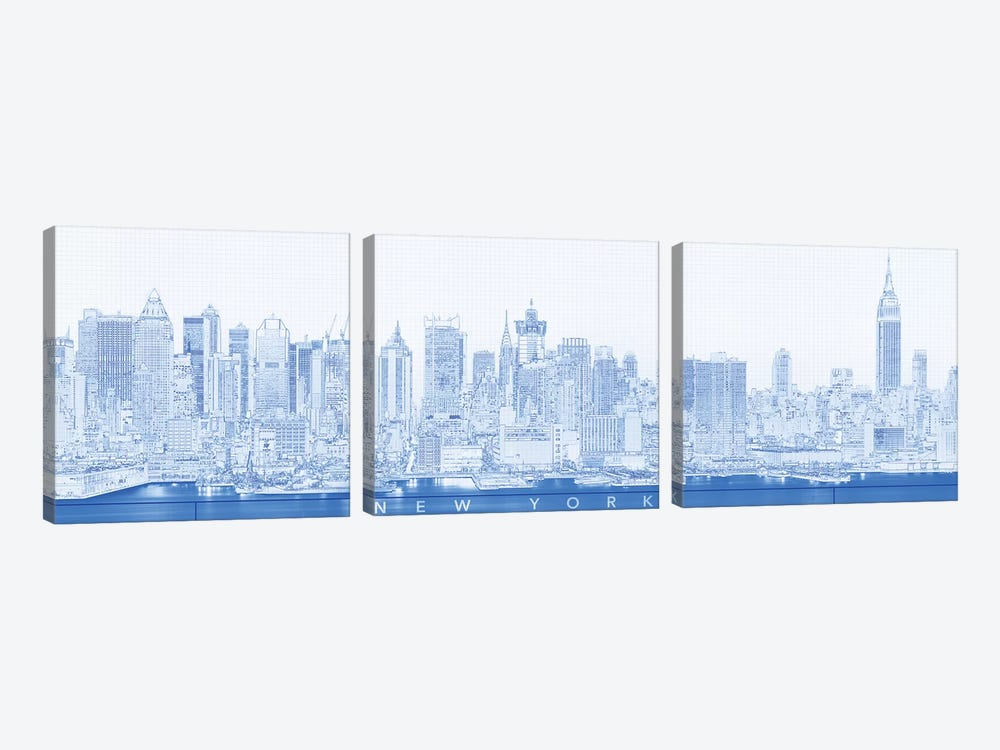 Digital Sketch Of Manhattan Skyline, NYC, USA II by Panoramic Images 3-piece Canvas Artwork