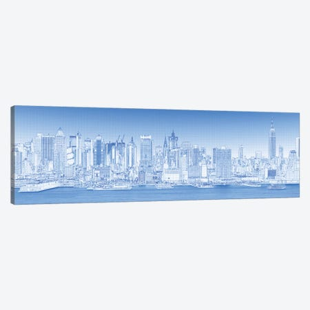 Digital Sketch Of Manhattan Skyline, NYC, USA III Canvas Print #PIM14616} by Panoramic Images Canvas Print