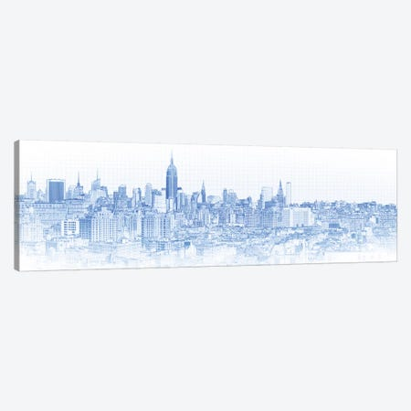 Digital Sketch Of Manhattan Skyline, NYC, USA IV Canvas Print #PIM14617} by Panoramic Images Canvas Art Print