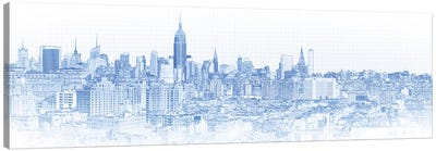 Digital Sketch Of Manhattan Skyline, NYC, USA IV Canvas Art Print