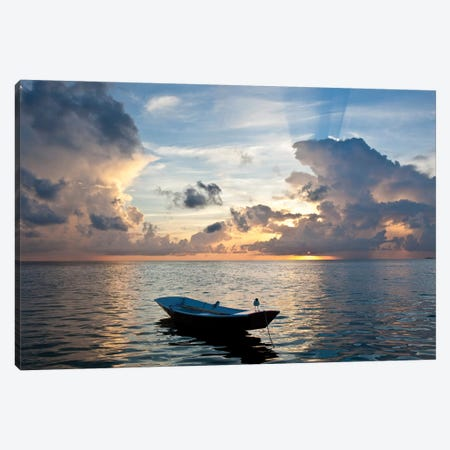 Dinghy Boat In Sea At Sunset, Great Exuma Island, Bahamas Canvas Print #PIM14618} by Panoramic Images Canvas Wall Art