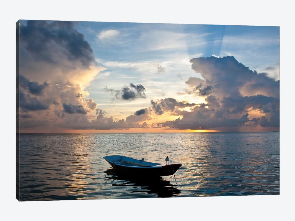 Dinghy Boat In Sea At Sunset, Great Exuma Island, Bahamas by Panoramic Images 1-piece Canvas Print