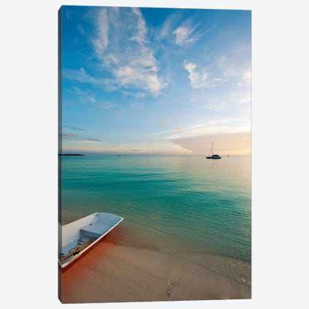 Dinghy Boat On Beach At Sunset, Great Exuma Island, Bahamas Canvas Print #PIM14619} by Panoramic Images Canvas Artwork