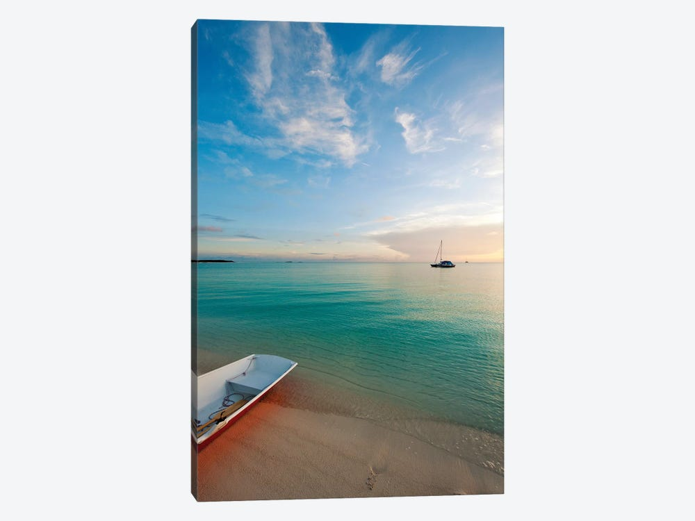 Dinghy Boat On Beach At Sunset, Great Exuma Island, Bahamas by Panoramic Images 1-piece Canvas Wall Art