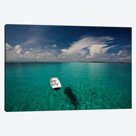 Dinghy In Clear Turquoise Water, Great Exuma Island, Bahamas Canvas Print #PIM14620} by Panoramic Images Canvas Art Print