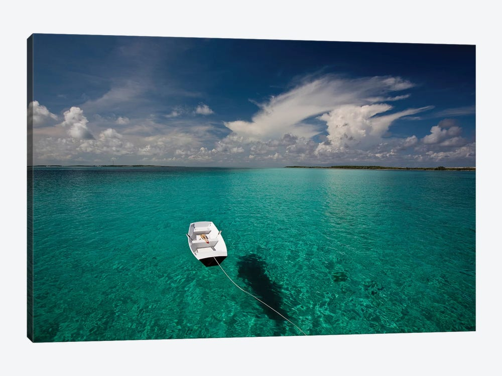 Dinghy In Clear Turquoise Water, Great Exuma Island, Bahamas by Panoramic Images 1-piece Canvas Artwork