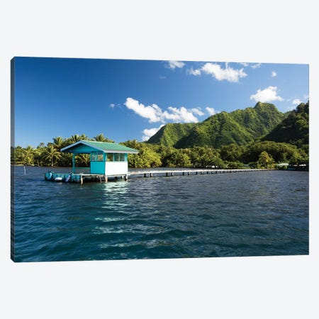 Dock In The Pacific Ocean, Moorea, Tahiti, French Polynesia Canvas Print #PIM14623} by Panoramic Images Canvas Print