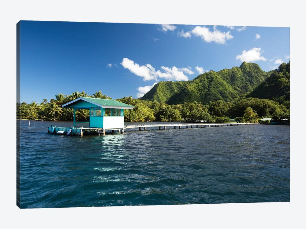 Dock In The Pacific Ocean, Moorea, Tahiti, French Polynesia by Panoramic Images 1-piece Art Print