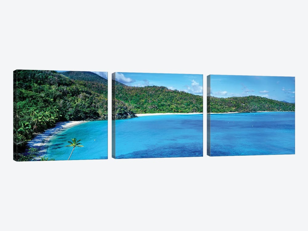 Elevated View Of Hawksnest Bay, Saint John, U.S. Virgin Islands by Panoramic Images 3-piece Canvas Artwork